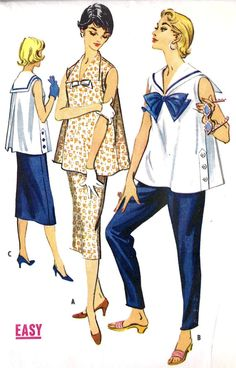 Those cigarette pants are lovely Maternity Summer Separates. Those cigarette pants are lovely Maternity Sewing Patterns, Clothing Patterns, Dress Making Patterns, Vintage Dress Patterns, Maternity Wear, Maternity Fashion, Maternity Styles, Maternity Swimwear, Maternity Pants