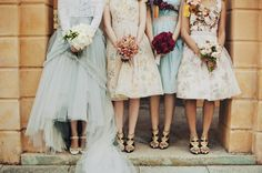 Mixed floral bridesmaids with amazing matching shoes, Harper's Bazaar Australia.