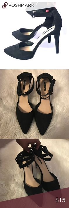Forever 21 double ankle strap suede heels Worn only once years ago for a few hours. A little of the insole is slightly torn off when I took off the foot cushion adhesive. In great like new condition! Feel free to make an offer! :) Forever 21 Shoes Heels