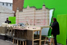 on the set of  The grand budapest Hotel, Wes Anderson