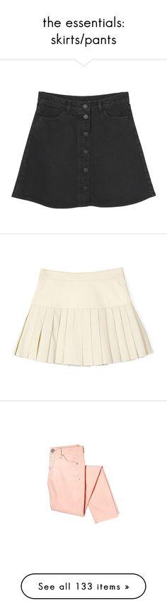 """the essentials: skirts/pants"" by via-m ❤ liked on Polyvore featuring viamstyle, skirts, bottoms, black knee length skirt, black flared skirt, flare skirt, pocket skirt, monki, mini skirts and faldas"