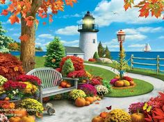 Alan Giana Autumn Sail 750 Piece New Jigsaw Puzzle in Toys & Hobbies, Puzzles, Contemporary Puzzles Lighthouse Art, Painting Inspiration, 500 Piece Jigsaw Puzzles, Sailing, Beautiful Pictures, Around The Worlds, Lazy Days, Lighthouses, Summer Months