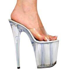Sexy Heels | inch extreme platform heels Clear Slip On Mule w/flowers