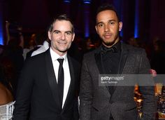 NASCAR driver Jeff Gordon (L) and Formula One racer Lewis Hamilton attend the 2016 amfAR New York Gala at Cipriani Wall Street on February 10, 2016 in New York City.