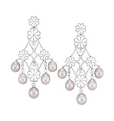 Pair of White Gold, Pink Freshwater Pearl and Diamond Pendant-Earrings  18 kt.