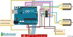 Qtr8rc üzerinde 8 tane alıcı verici bulunmaktadır.Arduino ile çizgi izleyen robot projesinde 5 tane sensör kullanarak çizgiyi takip ettirdik.Arduino bağlant