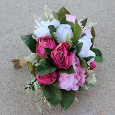 Hot pink, pink, and white color bouquet.  Used premium silk flower (peony, rose) and looser greenery. Natural color ribbon on the handle.  Bouquet size is approx. 9.5 wide & 11.5 tall.  Please let me know if you would like to see more pictures.