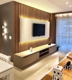 45 moderne Home Entertainment-Center, die begeistern werden Tv Unit Interior Design, Tv Wall Design, Interior Design Living Room, Living Room Designs, Interior Modern, Tv Stand Modern Design, Tv Stand Designs, Home Design, Design Ideas