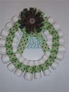 rolled diaper wreath