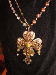 Vintage Bejeweled Cross Pendant by ArtisTreestudio on Etsy, $65.00