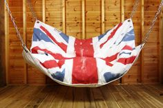 The Union Jack Bean Bag Hammock by Le Beanock is printed on Le Beanock's technical Le Beanock Colours fabric and is designed to distress with time. Indoor Hammock Bed, Hammock In Bedroom, Diy Hammock, Backyard Hammock, Portable Hammock, Hammock Chair, Swinging Chair, Camping Hammock, Hammock Ideas