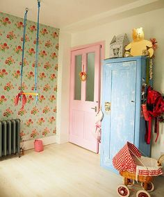 vintage girls room--the wall paper. and after removing wallpaper from all over this place i HATE wallpaper...but this I love