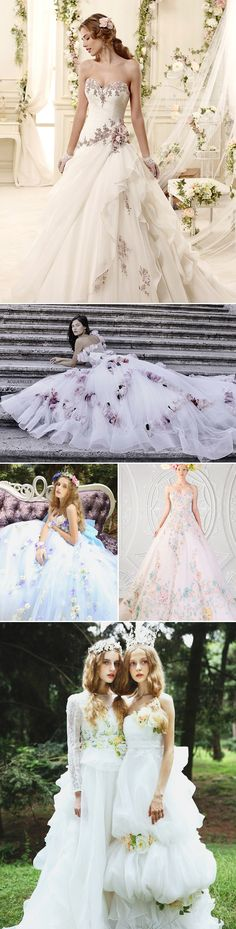 """Most Romantic Bridal Trend! 22 """"Barely Colorful"""" Wedding dresses with a Touch of Color! Colorful floral accent"""