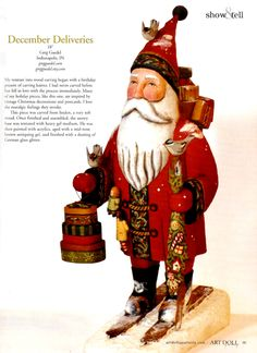 Skiing Santa wood carving by Greg Guedel  ~ Art Doll Quarterly winter 2014 edition