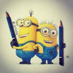 drawing, GRU, art, yellow, blue, draw, minion, pencil, minion❤