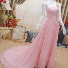 Evening Dress Pink One Shoulder Rhinestones Chiffon Long Prom Dress