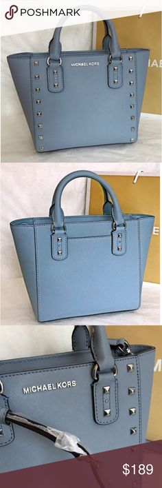 """Michael Kor Small Pale Blue Crossover Bag Size approximately: 8""""(top L) 11""""(bottom L) x 7.5 (H) x 3.5 (D) BRAND NEW never been used! Comes with Michael Kor purchase bag also. I LOVE it but unfortunately too small for what I was wanting it for. Michael Kors Bags Crossbody Bags"""