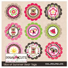9 Slice of Summer Bear Tags - Perfect for gift tags, cake toppers and party decorations.