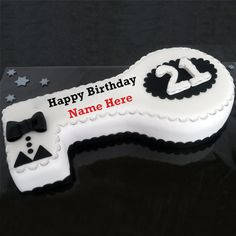 Happy 21st Birthday Wishes Key Theme Cake With Name