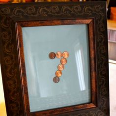Anniversary gift <3    Pennies from years with corresponding significance: Example - Years of our birth, dating, engaged, married, and kids' birth and forming the anniversary year.