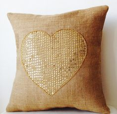 Items similar to Burlap Pillow Covers Gold Sequin Heart- Decorative Cushion -Valentine -Gift -Heart Cushion -Throw pillow -Love Pillow -Dorm -Wedding on Etsy Black Pillows, Gold Pillows, Burlap Pillows, Couch Pillows, Heart Cushion, Heart Pillow, Valentines Sale, Valentine Gifts, Valentine Ideas