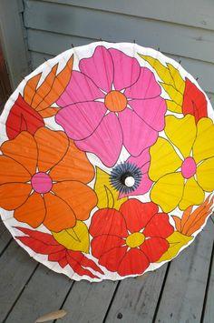 Vintage MOD Flower Paper Parasol Japan