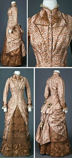 Day dress, ca. 1877-1882. Overdress has peach & tan floral print with long sleeves. Very fitted, with long seams from shoulder to hem (at knees), with no horizontal waist seam. Gathered at bottom with silk ribbons to look like a polonaise. Underskirt is straight and made of tan satin with many horizontal rows of tiny ruching. Goldstein Museum of Design, Univ. of Minnesota