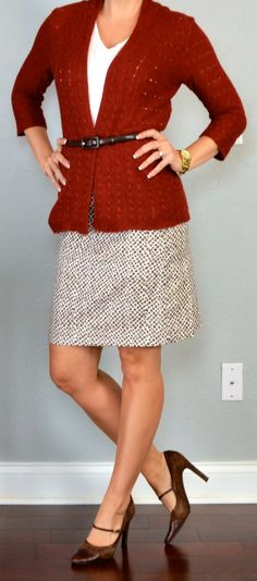 Outfit Posts: outfit posts: rust knit cardigan, white cami, printed pencil skirt