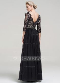 A-Line Princess V-neck Floor-Length Beading Zipper Up Sleeves Sleeves No  Black Spring Summer Fall General Plus Tulle Evening Dress 1a417abbdac5