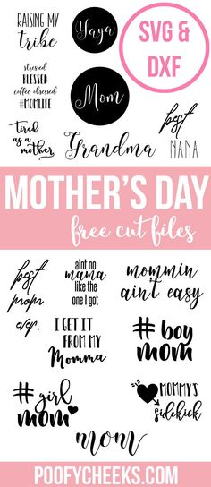 Mother's Day free cut files for Silhouette and Cricut users. DXF and SVG file types can be used for personal or commercial use.