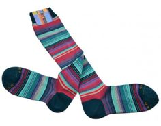 Multi-coloured stripe long cotton socks - Made in Italy | GALLO socks | Pavone