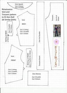 This is a free pattern for a Renaissance doublet and trousers that fit Ken dolls. The hat and shirt patterns (along with free video tutorials) are available at ChellyWood.com.