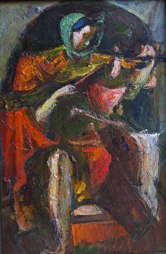 "Feigin, CONCERT, pressboard, oil, 48 x 31 cm (18.9"" x 12.2""), 1987          Фейгин, КОНЦЕРТ, картон, масло, 48х31 см,1987"