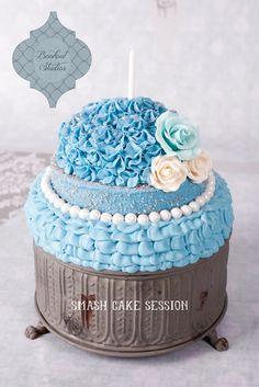 Tiffany Blue Smash Cake