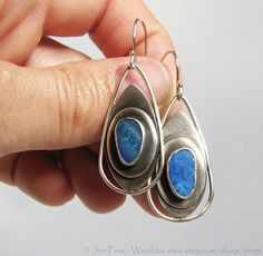 Blue opal sterling silver hand fabricated drop dangle by prox, $90.00