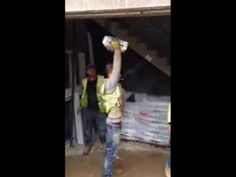 Plaster bag strength test prank. (with manic laughter). - YouTube