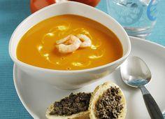 Meny-0903-Tomatsoppa-med rakor, wasabicrème Tortellini, Fodmap, Pudding, Desserts, Food, Student, Deserts, Custard Pudding, Puddings