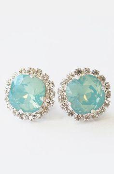 Pacific Opal Stud Earrings, Blue Green Clear Rhinestones Crystal