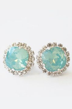 Pacific Opal Stud Earrings, Blue Green Clear Rhinestones Crystal