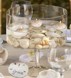 Easy to Make Table Centerpieces with Seashells, Flowers, Candles and more - Coastal Decor Ideas Interior Design DIY Shopping Non Floral Centerpieces, Beach Centerpieces, Centerpiece Ideas, Wedding Decorations, Table Decorations, Floating Candles, Seashell Candles, Floating Flowers, Table Flowers