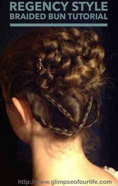 Vintage Hairstyles Tutorial A glimpse of our life: Regency style braided bun tutorial Victorian Hairstyles, Vintage Hairstyles, Braided Hairstyles, Cool Hairstyles, 1800s Hairstyles, Renaissance Hairstyles, Updo Hairstyle, Braided Bun Tutorials, Braided Buns
