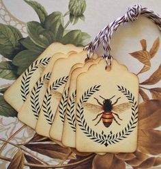 Tags Bee Wreath Vintage Style Gift Tags Wish Tree by bljgraves, $4.00