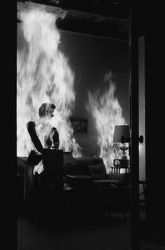 """Carver (Gaby Rodgers) opening """"Pandora's Box"""" in the cataclysmic finale of """"Kiss Me Deadly"""" (1955)"""