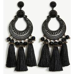 Ann Taylor Filigree Tassel Earrings ($40) ❤ liked on Polyvore featuring jewelry, earrings, black, tassel earrings, earring jewelry, ann taylor, filigree earrings and post earrings
