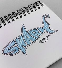 Logo design (can use same concept for other ideas) Great Typography- This is great traditional typography. I love how the S resembles the sharks mouth, and the K kicks out into a tail. This is very creative typography. Graffiti Art, Graffiti Lettering, Word Drawings, Shark Art, Creative Typography, Typography Logo, Handwritten Typography, Typography Inspiration, Grafik Design