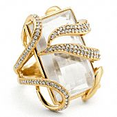 Tony Duquette collaboration with Coach-Square Stone Pave Ring