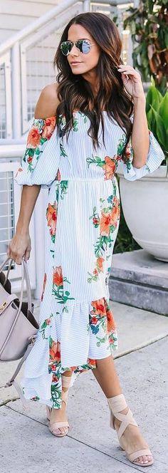 #spring #outfits white shoulderless midi dress flower pattern, beige sandals