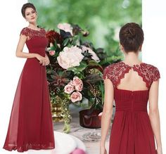 BNWT KATIE Cranberry Red Lace Maxi Prom Evening Bridesmaid Ballgown Dress 6 - 18