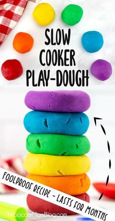 Our favorite play dough recipe ever! Super easy, super soft & each batch lasts for months! Learn how to make amazing play-doh in the crockpot! Easy Crafts For Kids, Projects For Kids, Diy For Kids, Fun Crafts, Simple Crafts, Playdough Activities, Toddler Activities, Activities For Kids, Do It Yourself Decoration