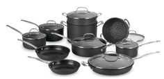 http://yummycakedecorating.com/cuisinart-66-17-chefs-classic-nonstick-hard-anodized-17-piece-cookware-set/ 17 -Piece Chef's Classic Non-Stick Hard Anodized Set includes:  1-1/2, 2- and 3- saucepans with covers, 8-inch, 10-inchand 12-inch covered skillet with helper, 4- quart saute with helper and cover, 9- quart stockpot with cover, 7-3/4-inch steamer insert with cover, 9-1/2-inch pasta insert